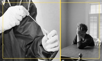 Images of a person sitting at a table and another person administering a COVID-19 test.
