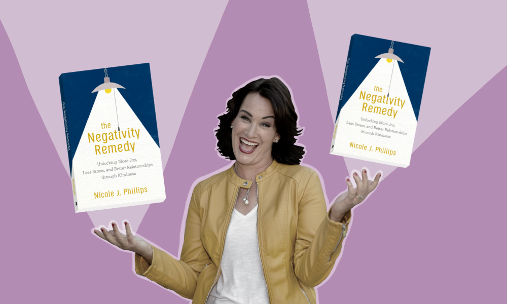 "an image of Nicole J. Phillips with her new book ""The Negativity Remedy"" besides her"