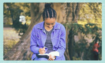 an image of a girl writing in her journal while surrounded by nature. on the sides of the image are cursive writing