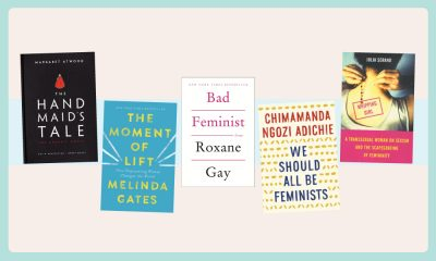 A collage of different books on feminism