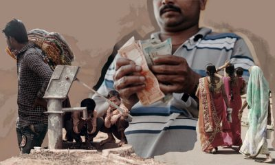 A collage of a man counting money and children drinking from a water pump.