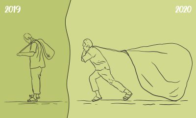 Illustration showing two men carrying bags of different side on the left and right, meant to indicate the difference in the stress levels they incurred.