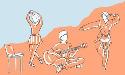 An illustrations of students involved in different extracurricular activities such as sports and dance