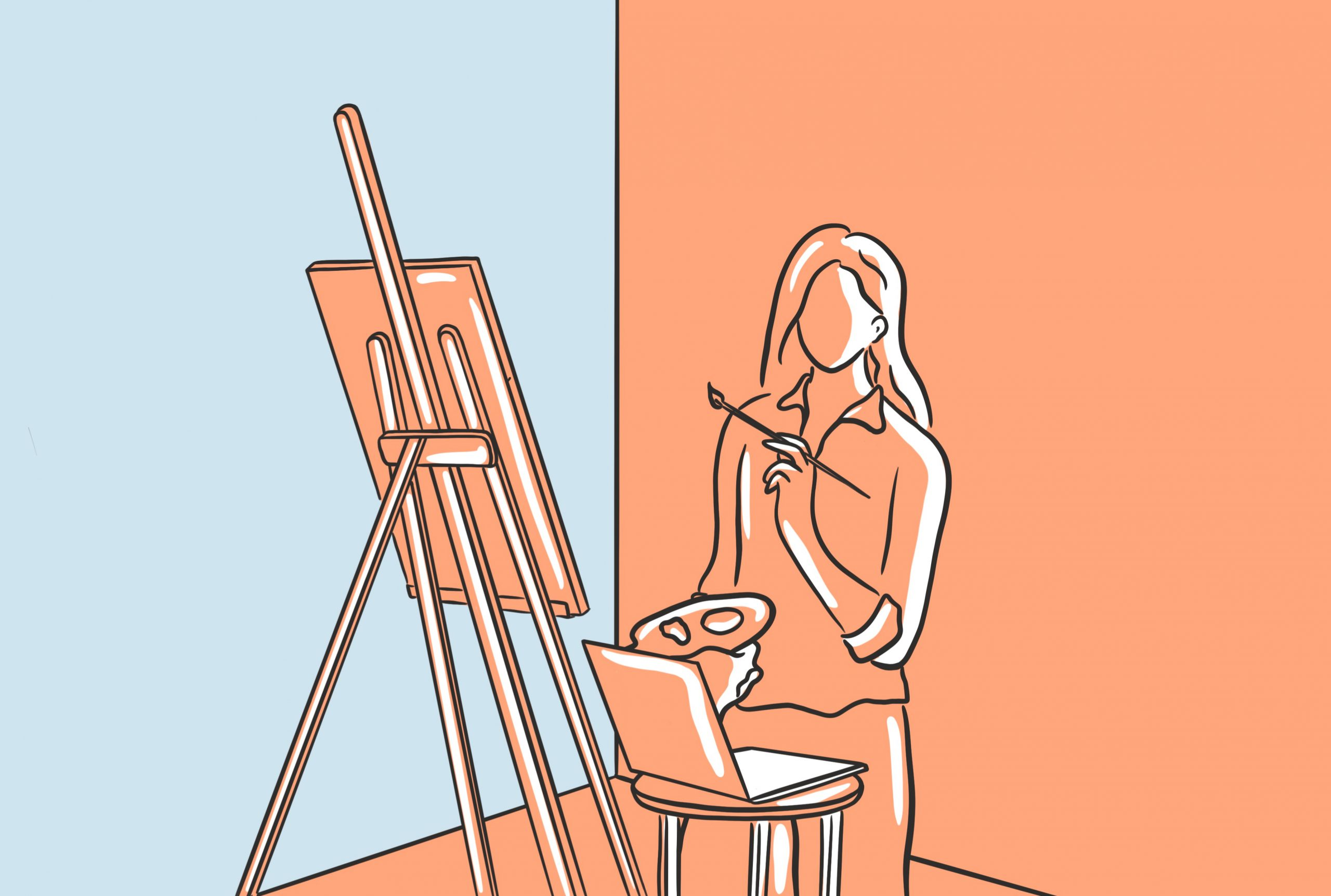 Illustration of a young woman painting with a laptop in front of her.