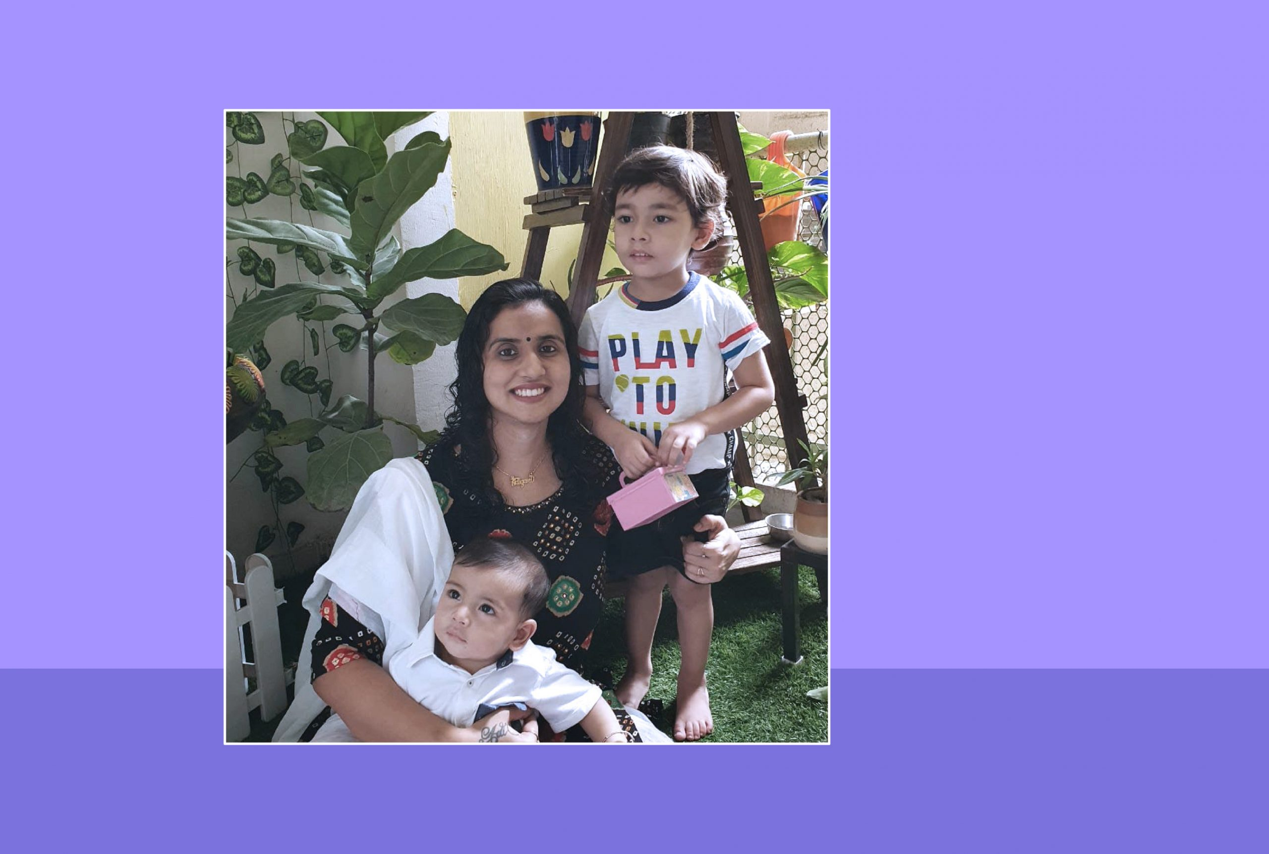 Image of Garima Sharma and her two sons