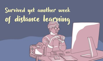 Illustration of a teacher sitting in front of her laptop with the words survived yet another week of distance learning behind her.