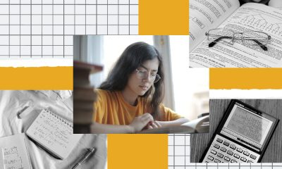 An illustration focussed on showing a student preparing for her SATs, with the image of the student in the middle, surrounded by images of a notebook, and a calculator and a timetable.