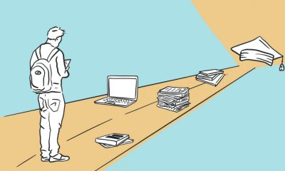 Illustration of a young person standing in front of a path with books and laptop and a graduation cap at the end.