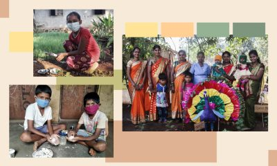 A collage of photos of students and fellows from Insight Walk. In one image children flaunt their invention, a dough maker. In the next a young girl is in the farm. The biggest photo is one of the fellows and a few students posing for a photo.