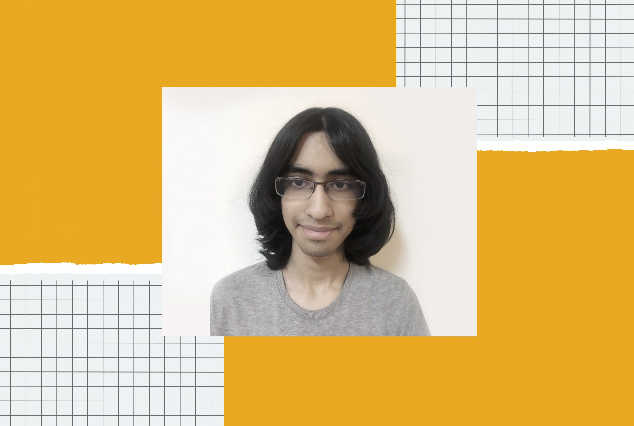 An iilustration with the image of a long-haired Indian boy wearing glasses in the middle.