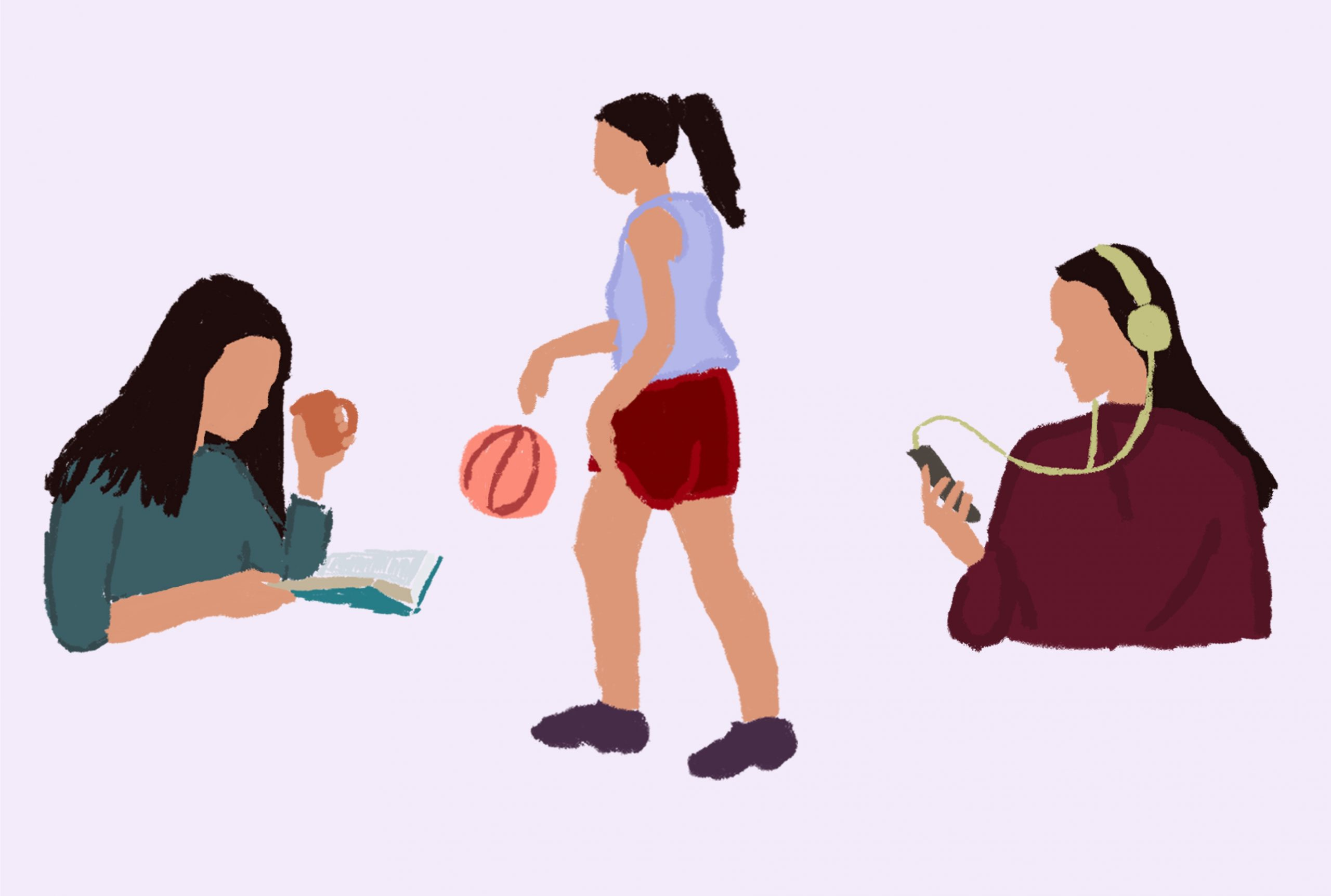 An illustration of three girls, one is reading, one is playing basketball and the other is listening to music.