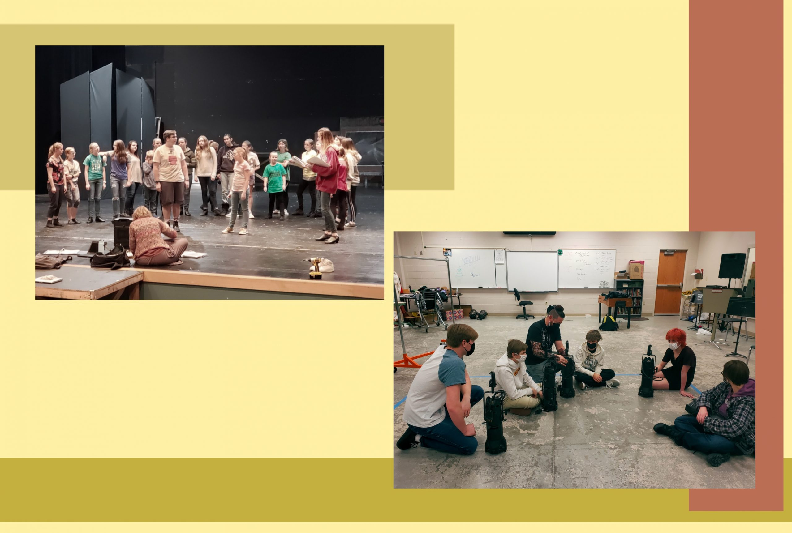 A collage of 2 images - 1 has many students huddled together practicing on stage, The second image has fewer students wearing masks rehearsing in a room.