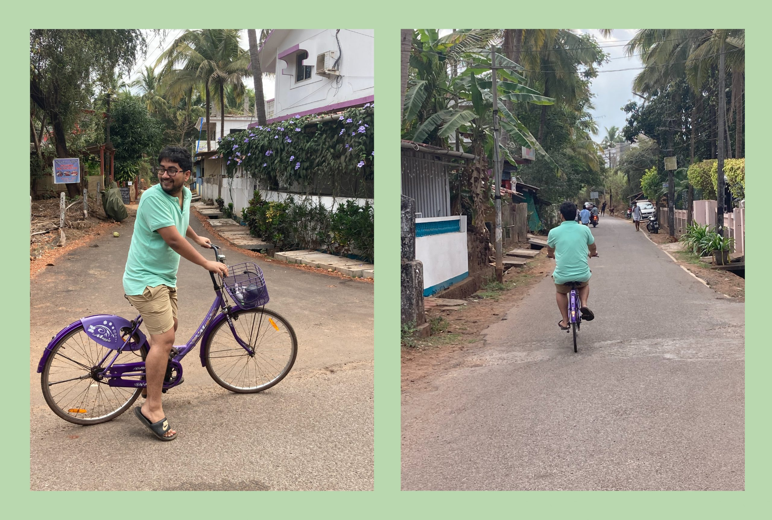 Two images of an Indian man wearing a turquoise tshirt and beige shorts riding a bycyle on a road with trees on the side.