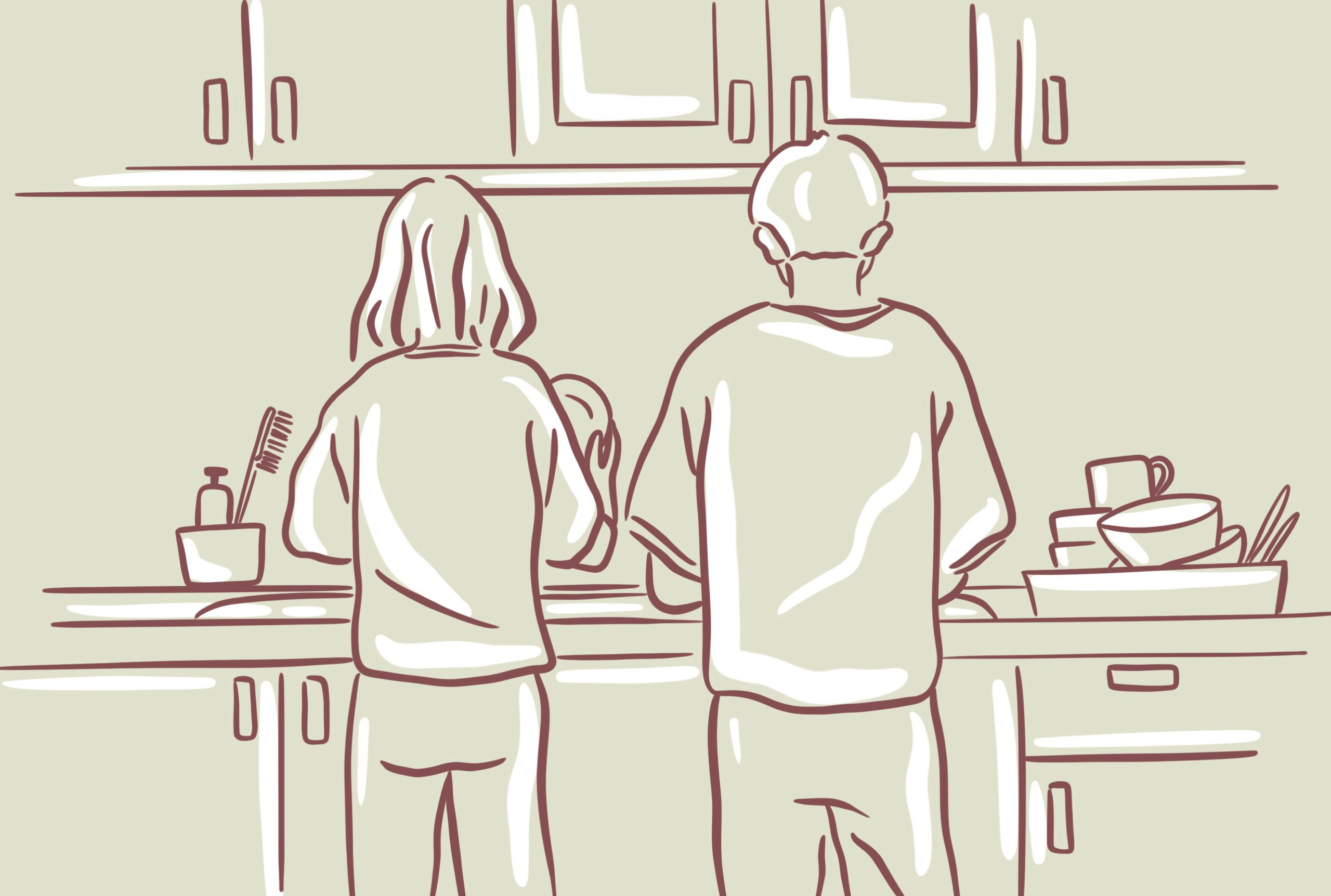 An illustration of a couple working together in the kitchen.