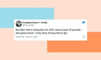 "Image of a tweet from @Stewey444: ""My New Year's resolution for 2021 was to lose 10 pounds - and good news! I only have 25 pounds to go!"""