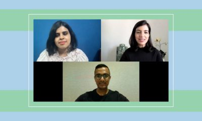 A screen grab of psychologist Ruchita Chandrashekar, Re:Set founder and Editor-in-Chief Aakanksha Tangri and Curry Traits founder Noel Aruliah. The screen grab is placed against a striped blue and green background
