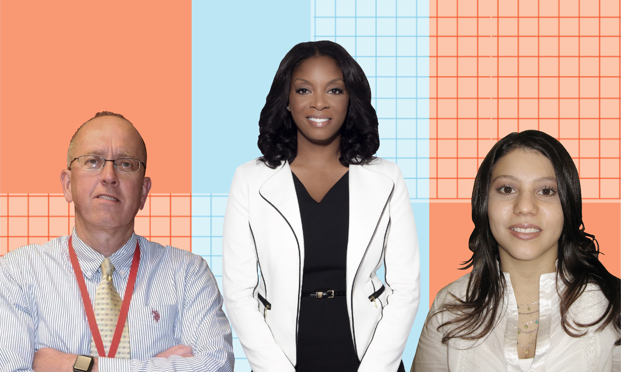 A collage made from the portrait images of principals Doug Kittle, Dr. Nadia Lopez and Lisa Leoni again a blue and orange chequered background