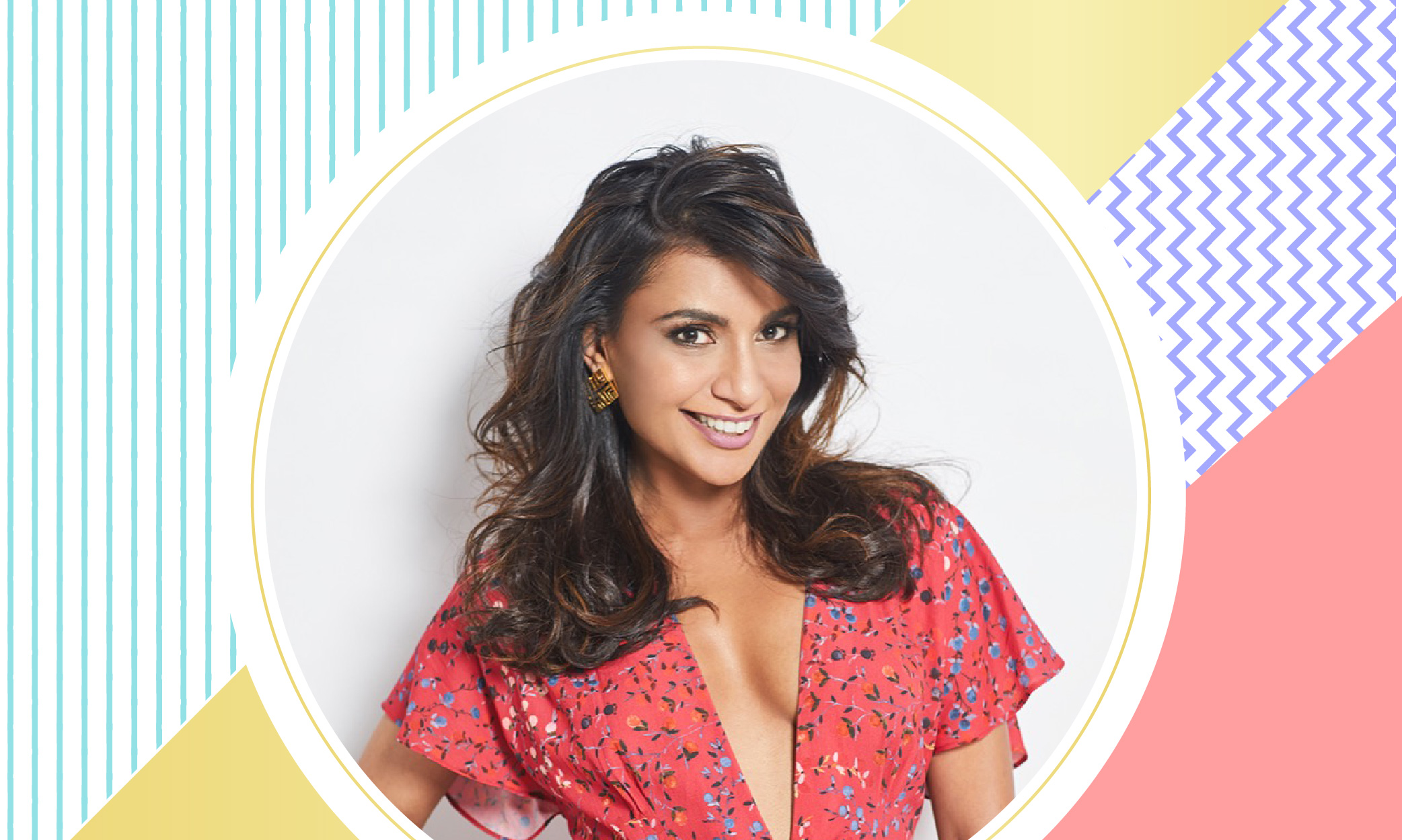 an image of entrepreneur Malini Agarwal aka Miss Malini against an illustrated backdrop of a motley of colours and patterns such as yellow and pink.