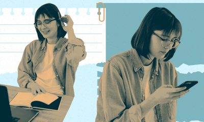 A contrast, showing a white woman seeming happy while preparing to write in a notebook on the left, and seeming perturbed while typing on her phone on the right.