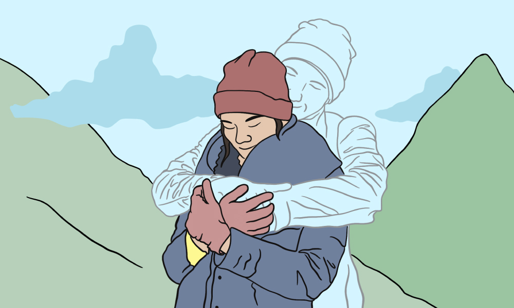 an illustration of a couple with the guy with his arms around the girl