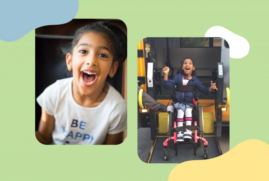 a split screen of images of the author Anchel Krishna's daughter Syona who lives with cerebral palsy. One the left image Syona is smiling and on the right image she's in her wheelchair coming off a school bus.