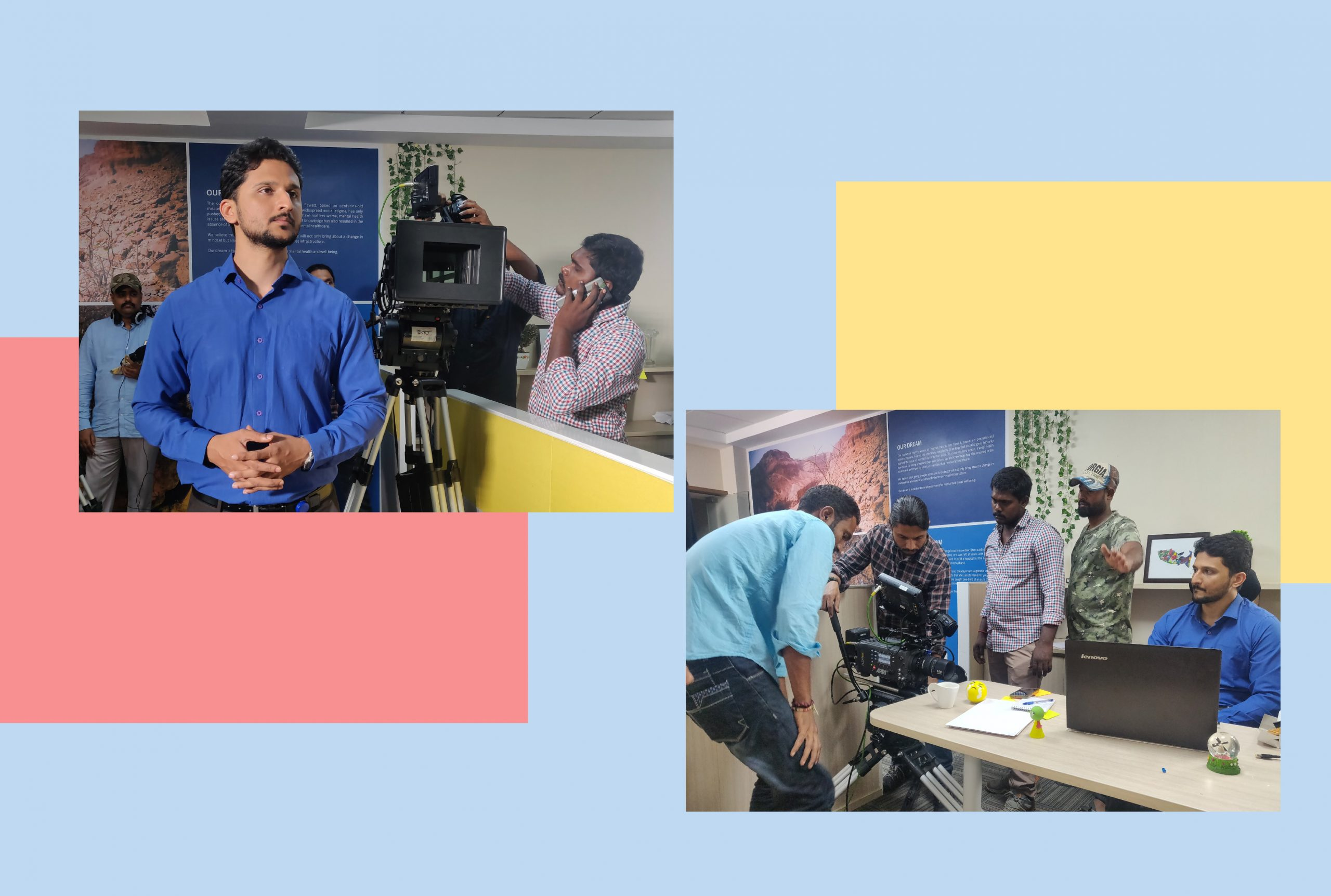 An illustration showing two images from the shoot of a film about mental health. The actor is wearing a blue shirt as he prepares to the play the part of someone with mental illness.
