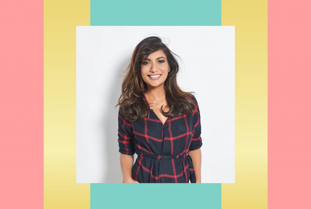 an image of entrepreneur Malini Agarwal aka Miss Malini against an illustrated backdrop of block colours such as yellow, teal and pink