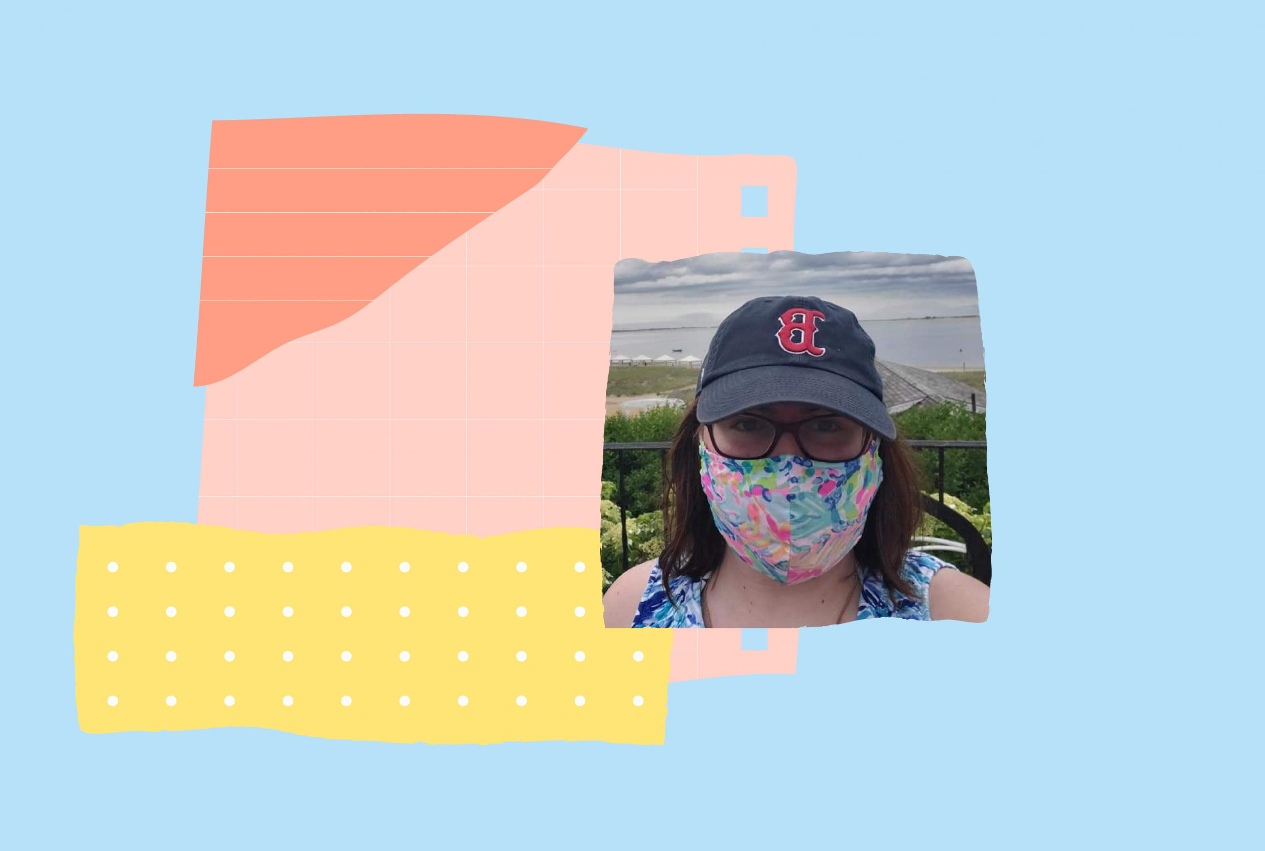 An image of Mary Catherine Hogan wearing glasses and a mask. The image is on a pink, yellow and blue backdrop.