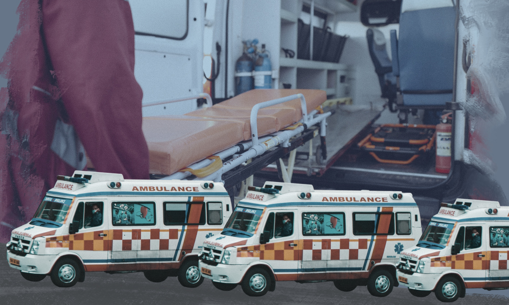 An image showing the difficulty of being an ambulance driver during COVID-19. There are ambulances in the foreground, while a paramedic carries a stretcher in the background.