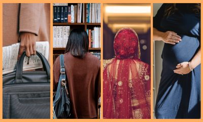 four split screens with a woman carrying an office bag and newspaper, a woman with her back to the camera looking at books, an indian bride with her back to the camera and an image of a pregnant woman holding her belly against a yellow background