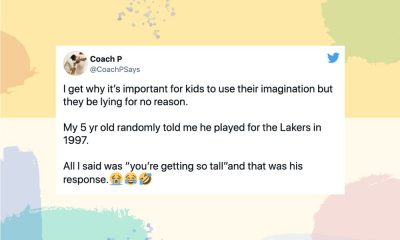 """Image of a tweet from @CoachPSays: I get why it's important for kids to use their imagination but they be lying for no reason. My 5 yr old randomly told me he played for the Lakers in 1997. All I said was """"you're getting so tall""""and that was his response.😭😂🤣"""