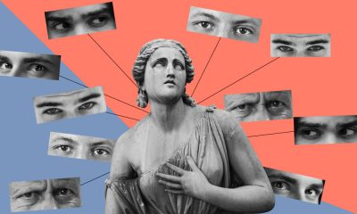 A collage of a woman's statue being ogled at by many pairs of men's eyes.