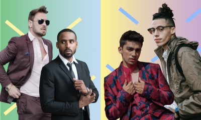 The image is divided into parts. On the left we have men in suits, on the right are more modern men confident with their effeminate side showing a contrast in usage of men in ads.
