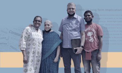 An India family, consisting of a parents, grandmother, and a 21-year-old man with special needs standing together.