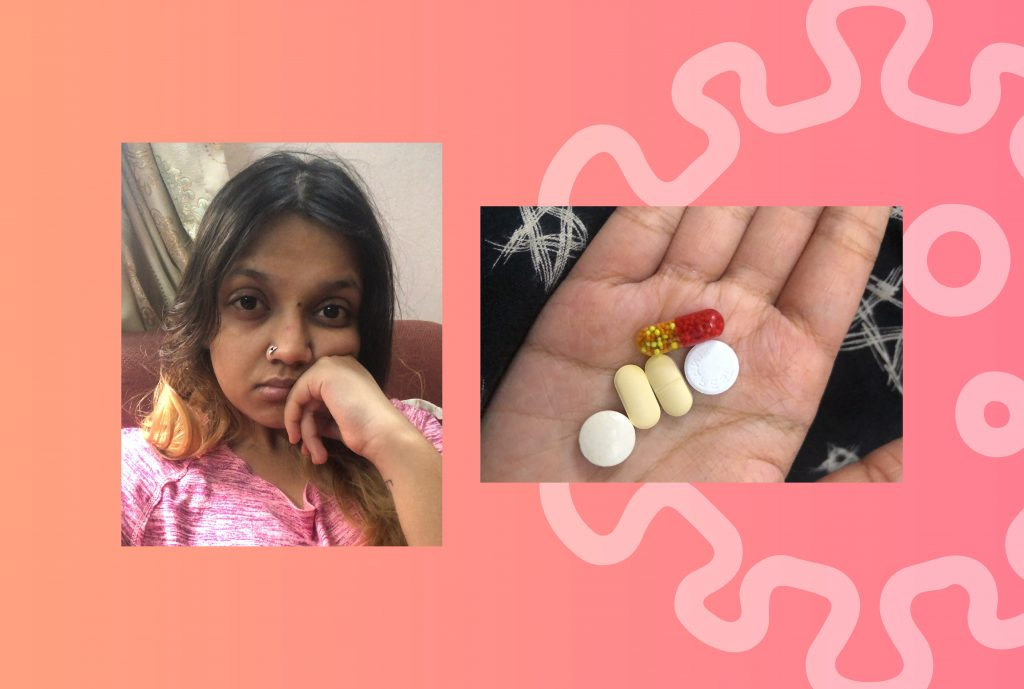 a selfie of the author on the left side and on the right a snapshot of COVID-19 medications in her hand against a pink backdrop with an illustrated image of the virus