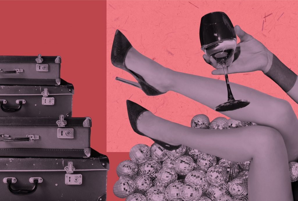 black and white collage of a woman's legs, a shot of her arm holding a wine glass and a stack of briefcases against a pink and red backdrop