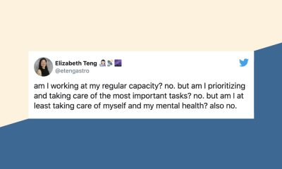 "a tweet against a cream and blue background that says ""am I working at my regular capacity? no. but am I prioritizing and taking care of the most important tasks? no. but am I at least taking care of myself and my mental health? also no."""