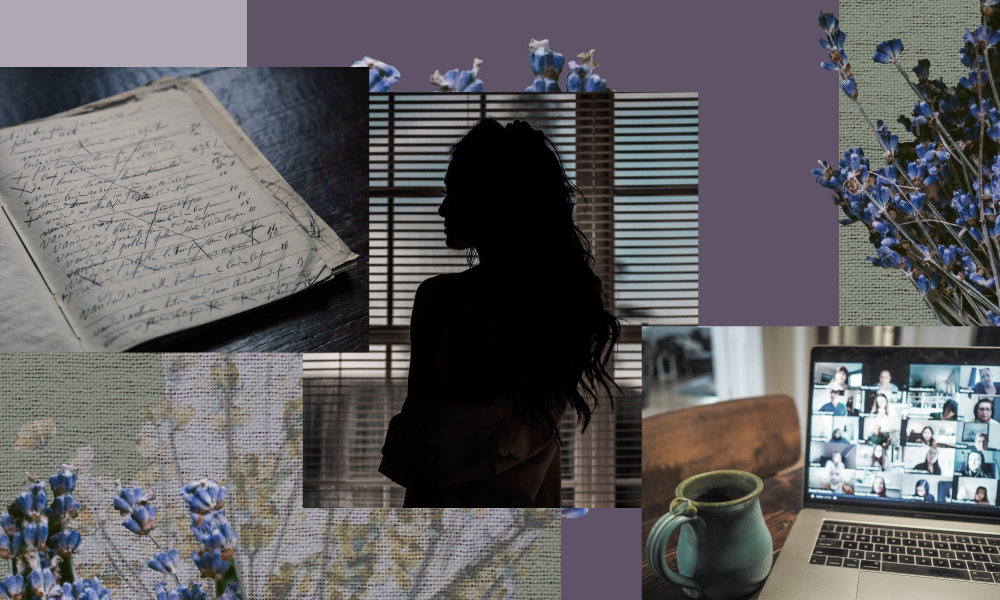 a collage of different elements of a zoom call, a silhouette of a woman looking out the window, an obituary notebook on the left side all set behind flowers and a purple background