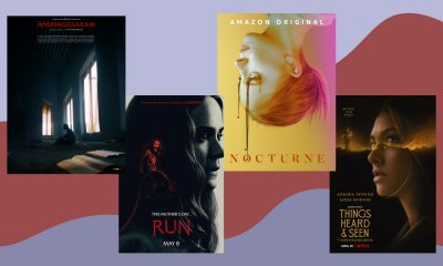 an image with four movie posters: Andhaghaaram, Run, Nocturne and Things Heard & Seen against a purple and red backdrop
