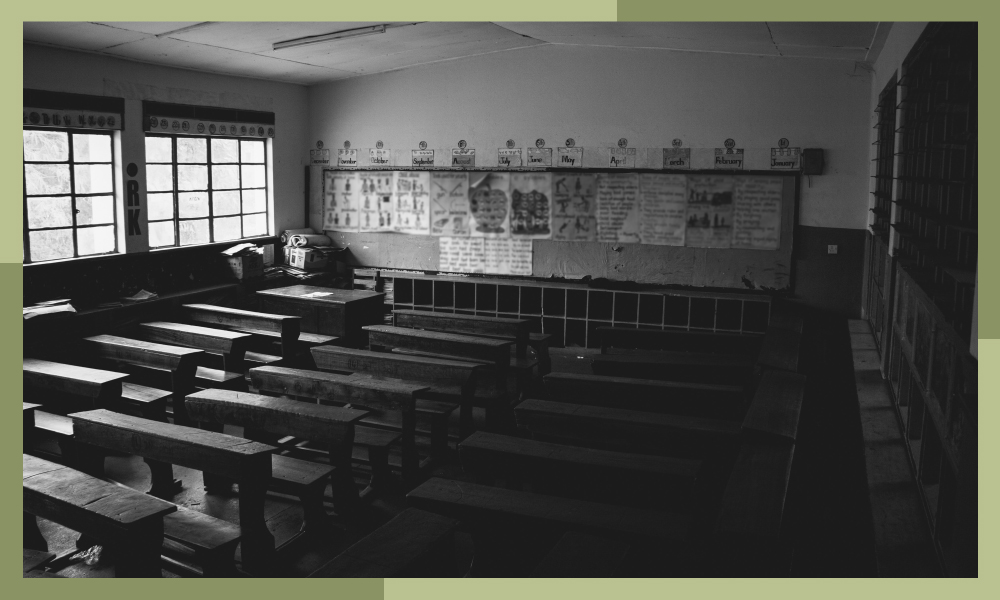 Photo of an empty classroom in an Indian school