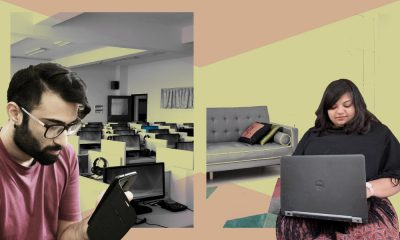 Designed image of Suraj Singh Gaur and Chitra Gupta working with elements of work and home life in the background
