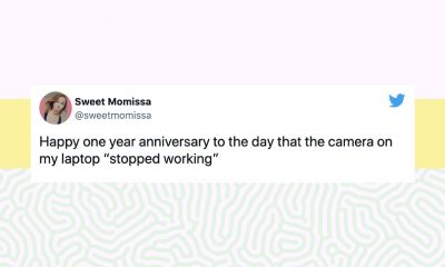 """Image of a tweet from @sweetmomissa: Happy one year anniversary to the day that the camera on my laptop """"stopped working"""""""