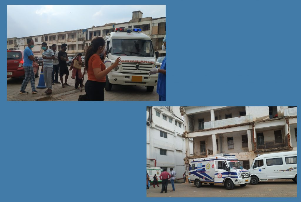 A collage on a blue background with two photos. The first shows a woman speaking with a doctor with the ambulance behind them. The second photo shows two ambulances parked in a lot.