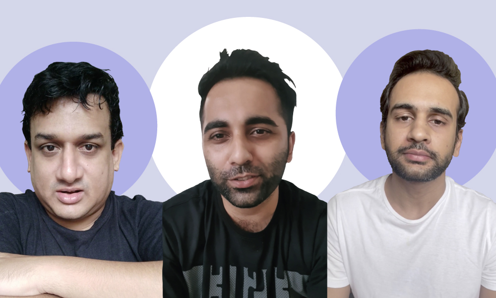 Collage of images taken from screengrabs of videos. The image features Aseem Chandaver, Aurindam Mukherjee and Shivam Sharma looking into the camera.