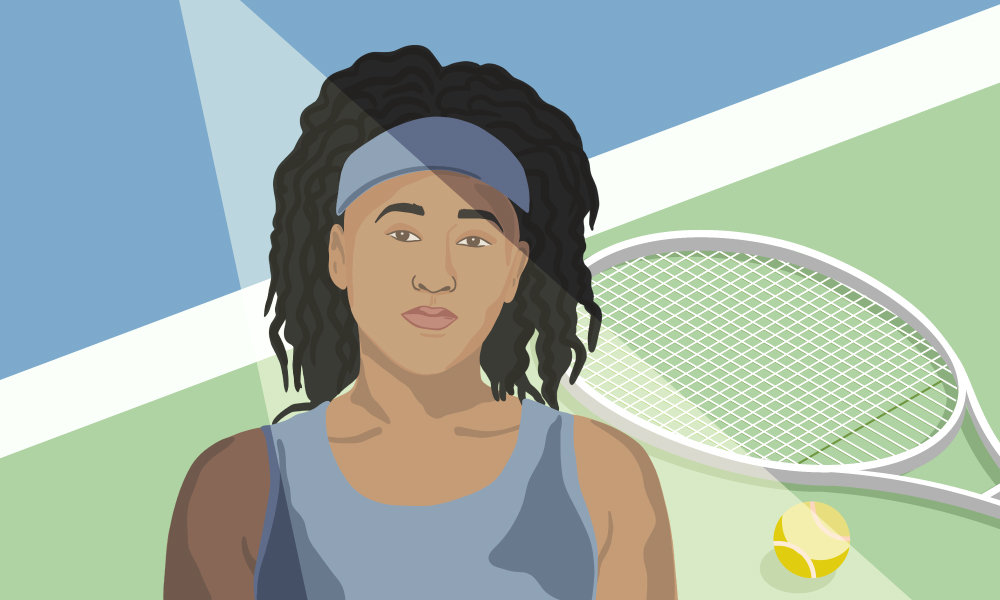 An illustration of tennis player Naomi Osaka with a tennis racket and ball in the background