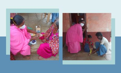 A cover image showing two images of ASHA workers checking an old woman's oxygen saturation with an oxemeter and helping a couple with medication for their baby in rural India