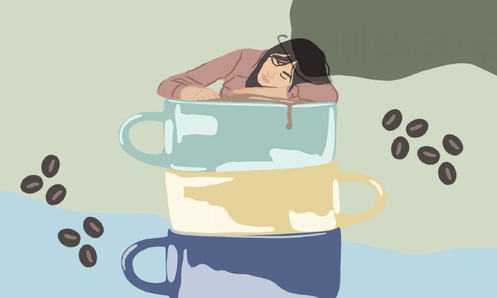 Illustration showing a woman sleeping, looking very tired in a stack of mugs of coffee