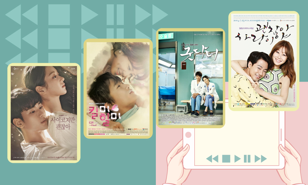 Illustration showing someone browse on a tablet and see four Korean TV shows, It's Okay to Not Be Okay, It's Okay That's Love, Good Doctor, and Kill Me Heal Me, on display