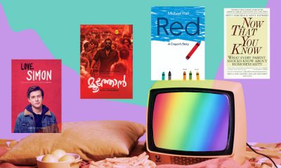 Image showing a TV with the LGBTQ rainbow flag surrounded by posters of movies and books, 'Love Simon', 'Moothon', 'Red: a Crayon's Story', and 'Now You That You Know'