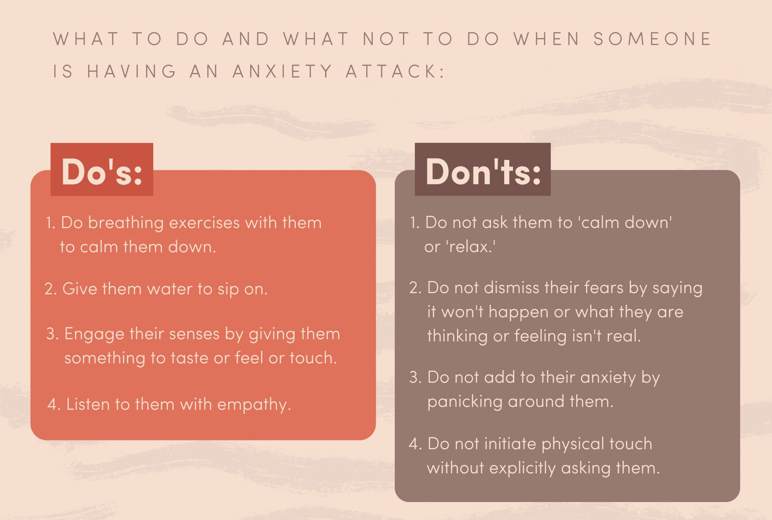 A list of do's and don'ts for dealing with an anxiety attack